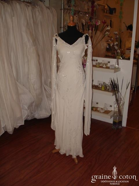 Lolita Lempicka - Robe une pièce en mousseline de soie ivoire