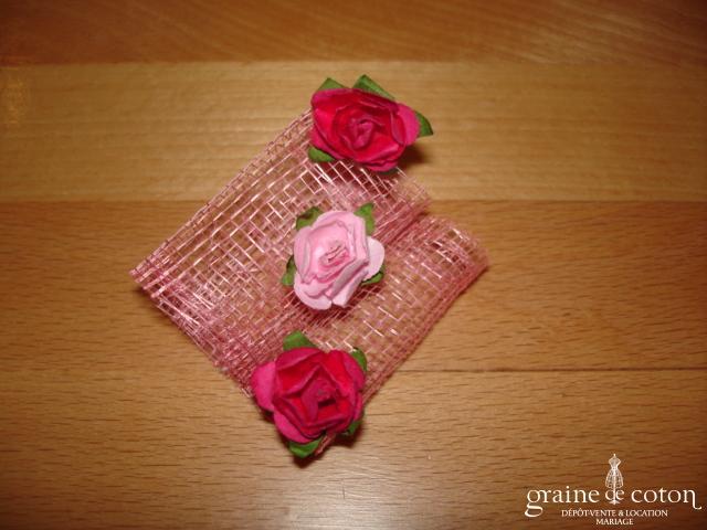 Création Alexia de Paris - Mini bibi en abaca et petites roses rose