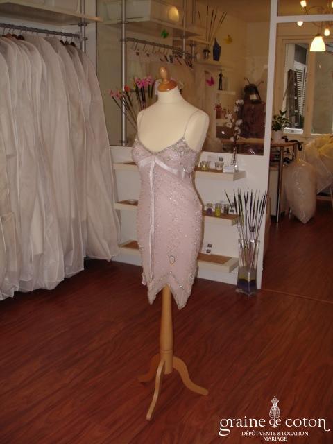 Sagaie - Robe de soirée rose en mousseline de soie (non stocké en boutique, essayage sur demande)