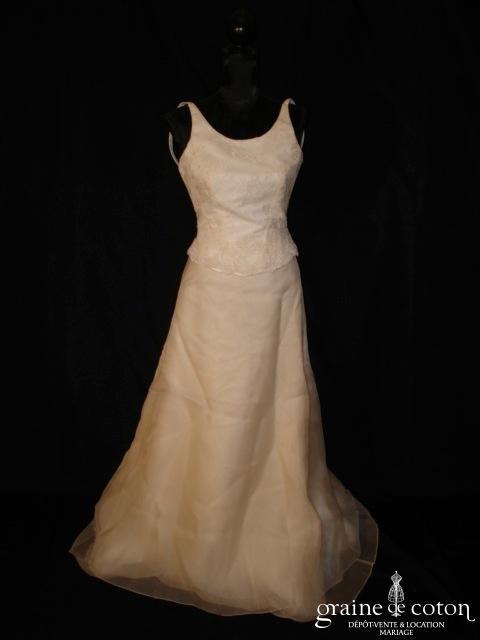 Mariées de Paris - Robe deux pièces en dentelle et organza de soie ivoire (prototype)