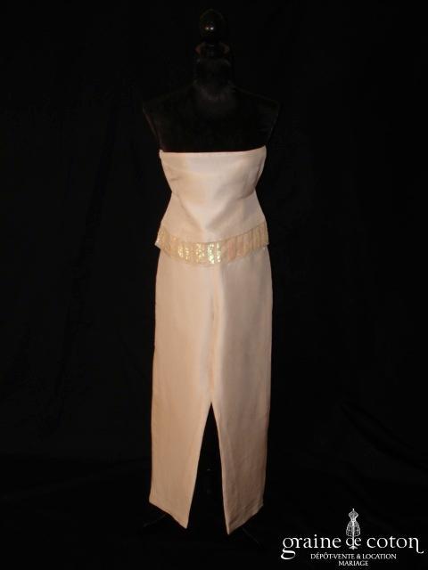 Zapa - Ensemble bustier pantalon en soie sauvage ivoire clair