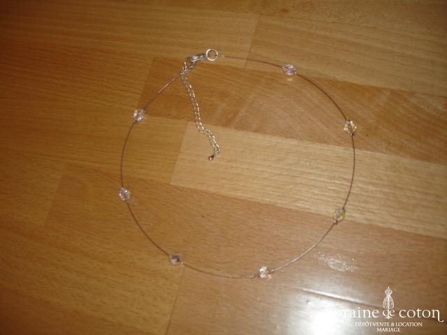 Au fil perlé - Tour de cou un rang perles transparentes