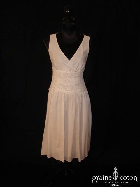 Épisode - Robe courte en soie et coton ivoire avec ceinture de dentelle