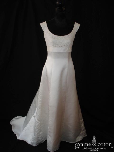 VENDUE - Cymbeline - Robe une pièce taille empire en satin duchesse et dentelle de calais ivoire