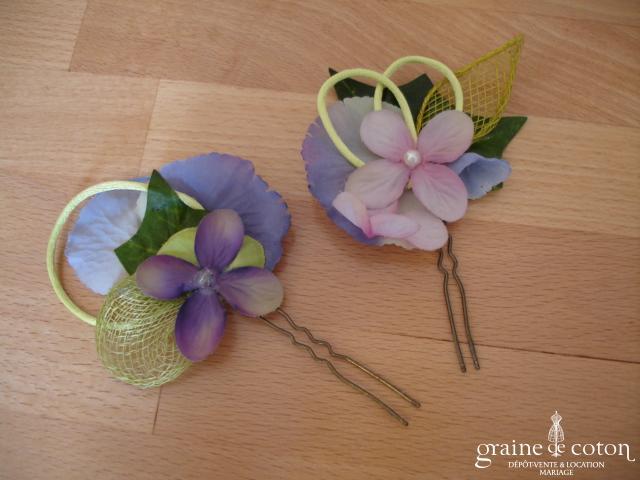 Elsa Gary - Pic à cheveux violet et vert  en sisal et tissu