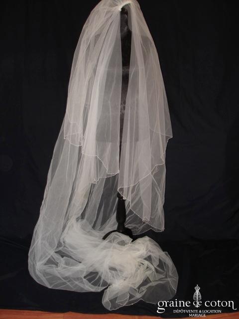 Pronovias - Voile long de 3 mètres avec petites perles sur le bord