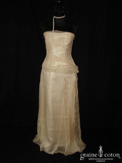 Rembo Styling - Robe deux pièces en organza de soie et dentelle vanille
