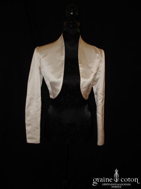 Pronuptia - Boléro manches longues en soie ivoire