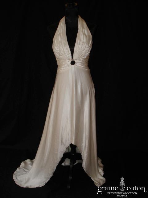 Azzaro - Robe fluide plus courte devant en soie ivoire avec tour de cou