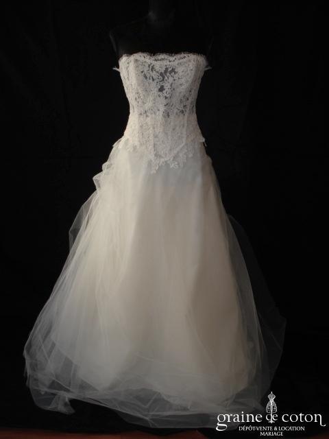 Les mariées de Provence - Robe deux pièces en dentelle faite main, soie sauvage et tulle ivoire