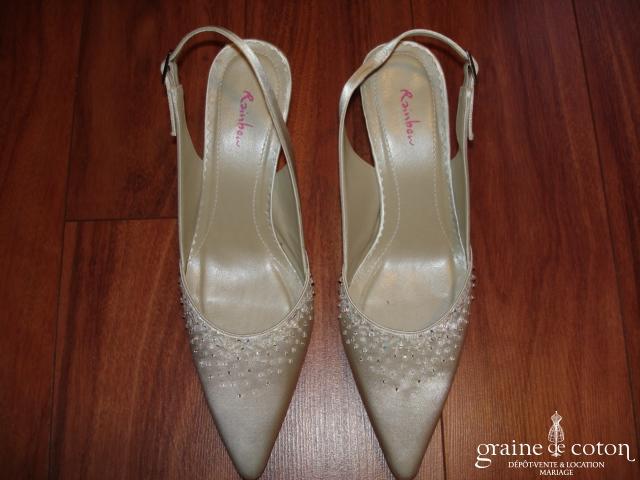 Rainbow - Escarpins (chaussures) Paige en satin ivoire avec perles