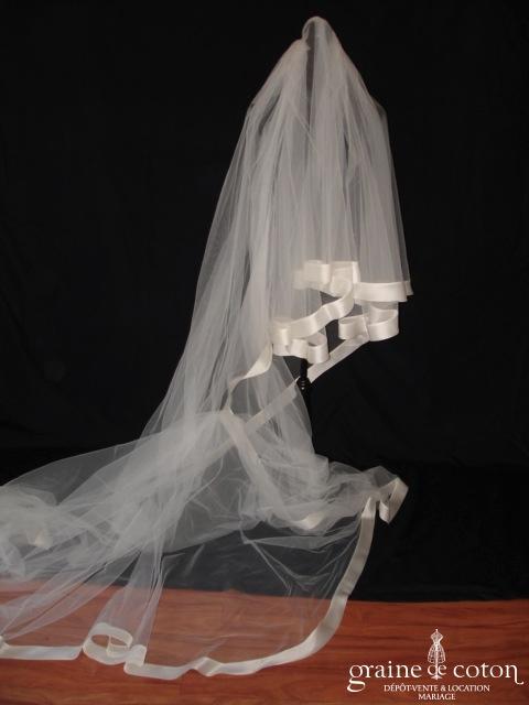 Pronovias - Voile long de 3,75 mètres en tulle ivoire avec large biais d'organza de soie