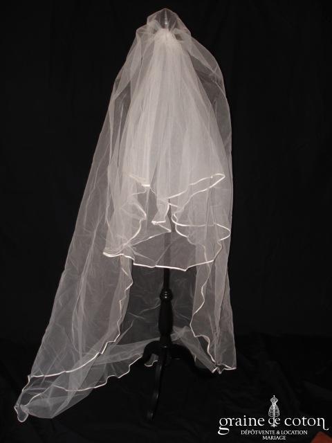 Pronuptia - Voile mi long de 2 mètres en tulle blanc bordé d'un biais de satin