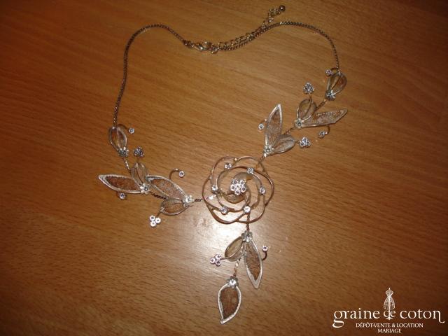 Collier (tour de cou) strass fleur