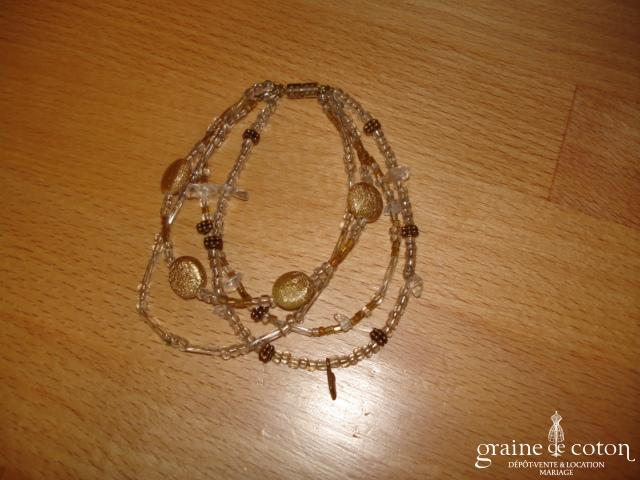 Bracelet en perles transparents et cuivre