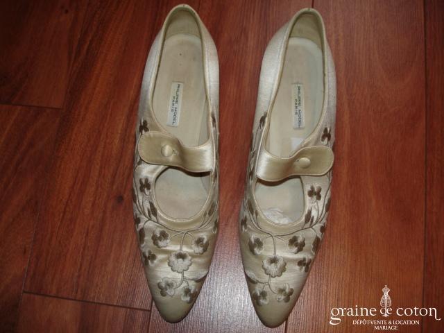 Philippe Model - Escarpins (chaussures) en coton et soie ivoire