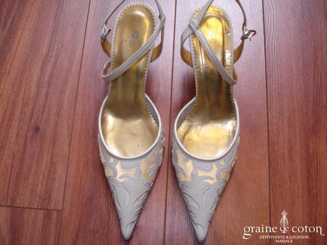 Dejean - Escarpins (chaussures) en cuir et tulle ivoire