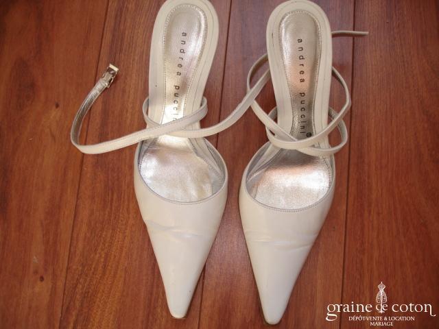 Andre Puccini - Escarpins (chaussures) en cuir ivoire