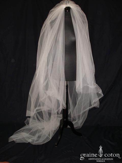 Ava Marillages - Voile long de 2,50m en tulle ivoire
