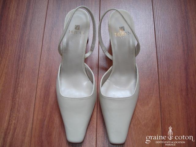 Dejean 1198 - Escarpins (chaussures) en cuir ivoire