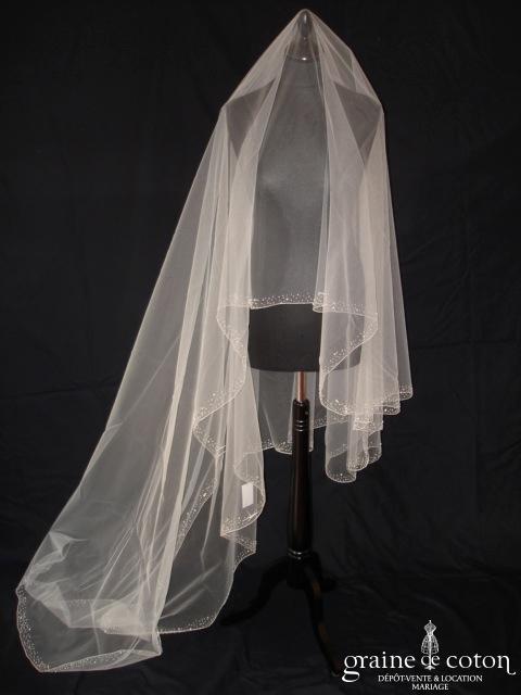 Prudence Macé pour Pronuptia - Voile long de 3 mètres en tulle ivoire bordé de perles et cristaux