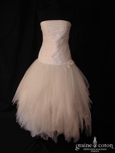 Mariées de Provence - Sariette (taille basse soie sauvage drapé tulle courte)