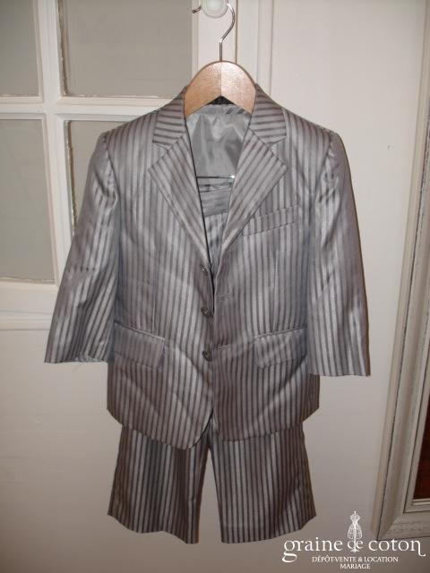Roncenni - Costume 3 pièces pour petit garçon, rayé gris souris