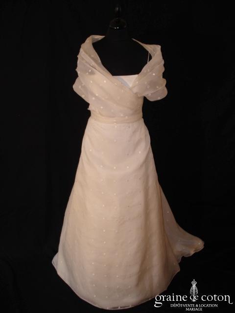 Cymbeline - Robe en taffetas et organza à pois avec boléro cache coeur (bretelles)