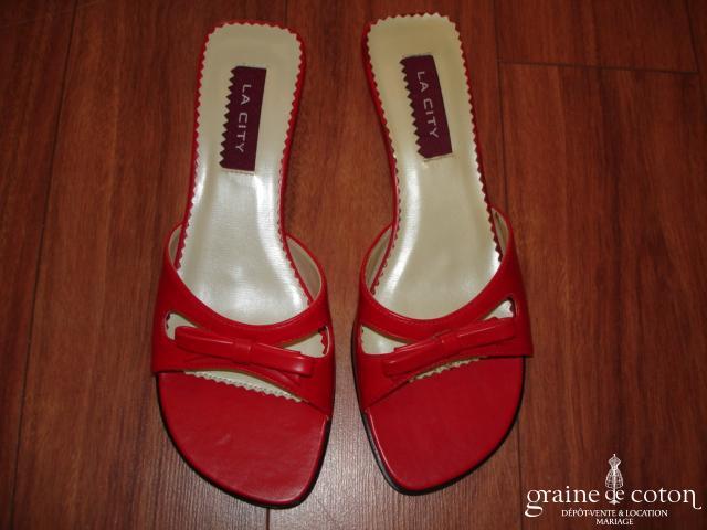 La City - Mules (chaussures) rouges à noeud