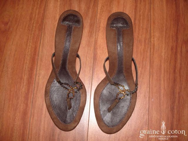 Zara - Mules (chaussures) en nubuck et strass chocolat
