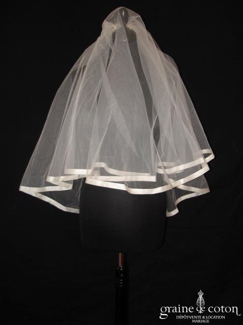 Cymbeline - Voile court en tulle ivoire bordé d'un large biais d'organza