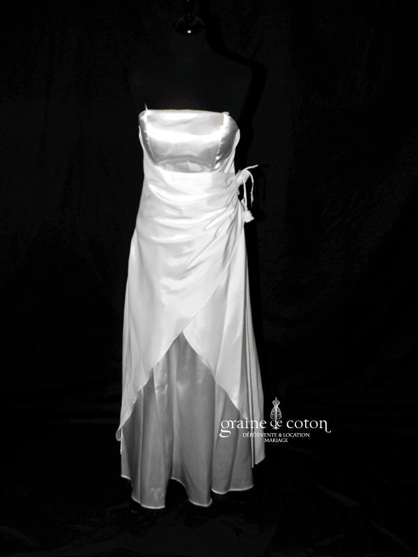 Juju & Christine - Robe en satin blanc (drapée)