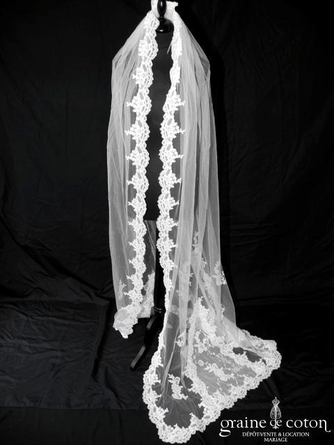 La Sposa (Pronovias) - Voile long de 2 mètres bordé de dentelle ivoire clair