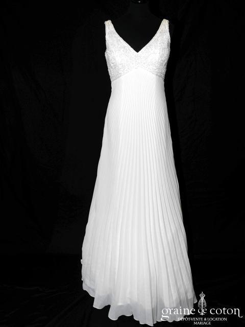 La Sposa (Pronovias) - Mercadal (bretelles empire V mousseline plis soleil fluide)