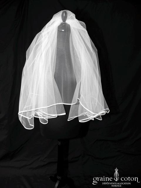 Voile mi long en tulle blanc bordé d'un biais de satin (W12b)