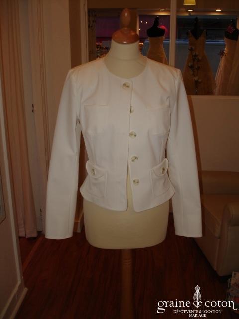 Alain Manoukian - Veste blanche avec petites poches (non stocké en boutique, essayage sur demande)