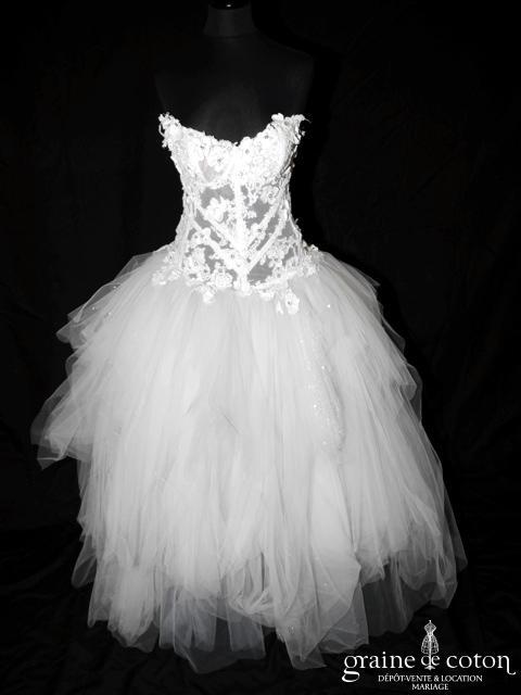 Max Chaoul - Robe en mouchoirs de tulle blanc et cristaux (dentelle paillettes)