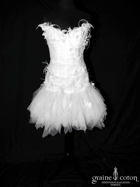 Max Chaoul - Collection I Love You - Robe courte et longue en mouchoirs de tulle (papillons dentelle plissé plumes)