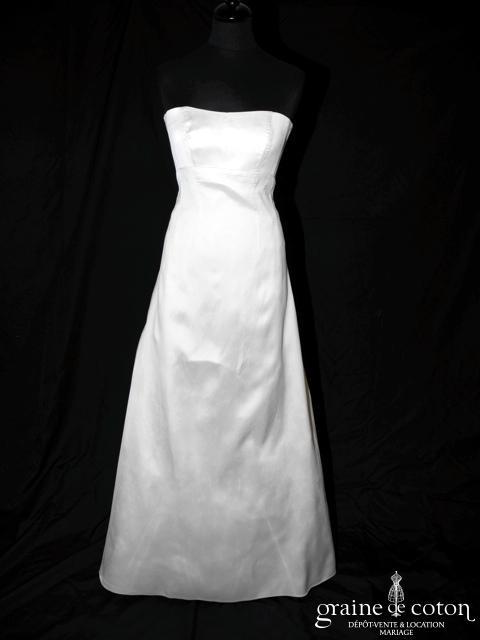 Mariées de Paris - Robe taille empire en mikado de soie ivoire (laçage)