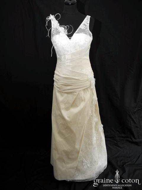 Lambert Créations - Aniline (taffetas drapé dentelle bretelles V)