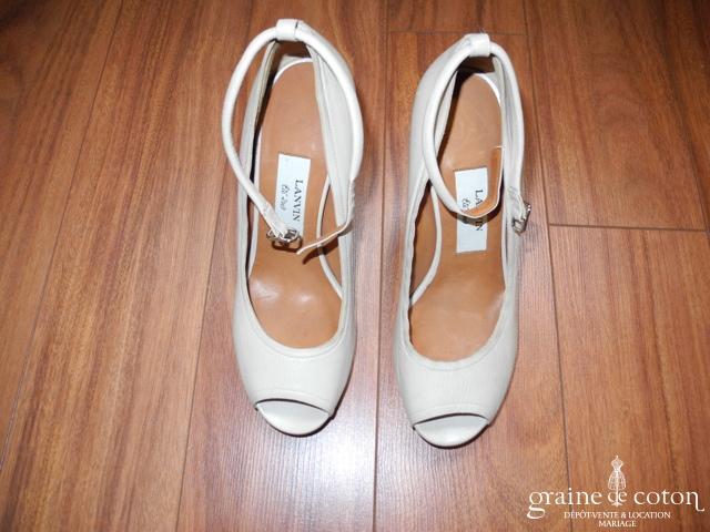 Lanvin - Escarpins ouverts (chaussures) en cuir ivoire