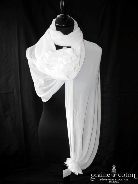 Pronuptia - Étole en mousseline ivoire avec fleurs en tissu