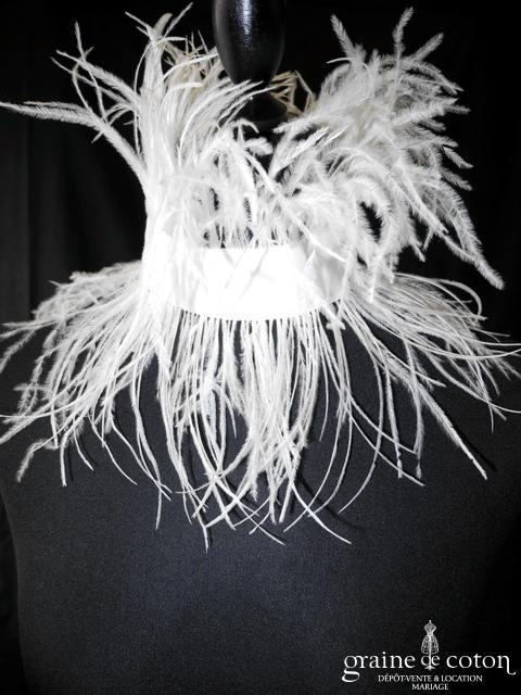 Pronuptia - Collier (tour de cou) en plumes d'autruche (années 20 rétro)