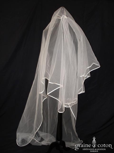 Pronuptia - Voile long de 2 mètres en tulle ivoire bordé d'un biais de satin