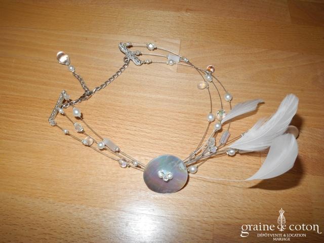 Création - Tour de cou (collier) avec perles et plumes