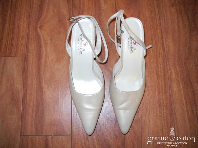 Prudence Macé pour Pronuptia - Escarpins (chaussures) en cuir champagne