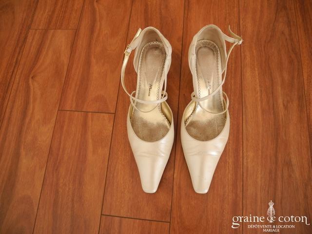 Christian Rossi Novias - Escarpins (chaussures) en cuir ivoire nacré
