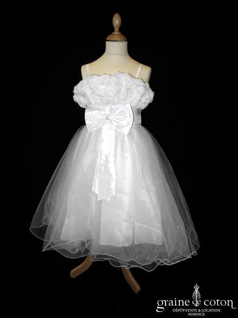 Robe demoiselle d'honneur blanche avec bustier roses en organza et jupe en tulle