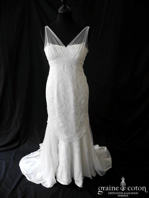 Mariées de Paris - Gruau (empire fluide sirène tulle dentelle argentée bretelles blanche)