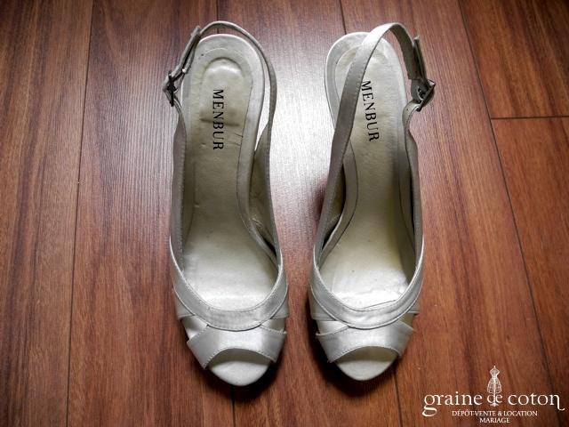 Membur - Sandales (chaussures) en satin ivoire